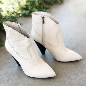 Vince Camuto Cream Leather Ankle Bootie Boot